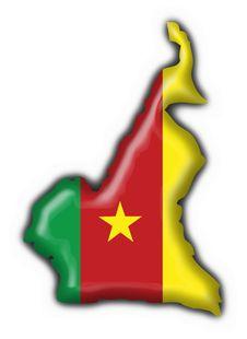 Cameroon American Button MAP Flag Stock Photos