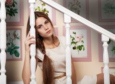 Free Girl Sits On The Stairs Royalty Free Stock Photo - 46811465