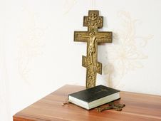 Free Worn Bible With Two Bronze Crosses Stock Photo - 46811600