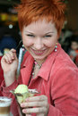 Free Woman Eating Ice-cream In Cafe Royalty Free Stock Images - 4690809