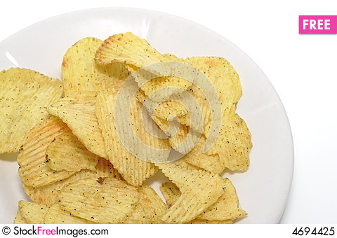 Free Chips On A Plate Royalty Free Stock Photo - 4694425