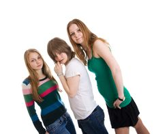 Free Three Attractive Girls Isolated On A White Royalty Free Stock Photography - 4690147
