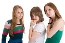 Free Three Attractive Girls Isolated On A White Stock Photo - 4690150