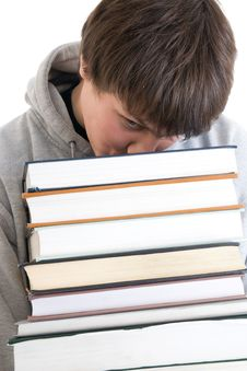 Free The Young Student With A Pile Of Books Isolated Stock Images - 4690244