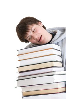 Free The Young Student With A Pile Of Books Isolated Royalty Free Stock Image - 4690246