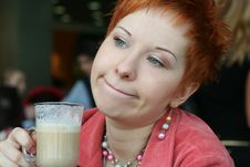 Free Woman Drinking Coffee In Cafe Royalty Free Stock Photo - 4690635
