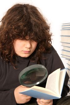 Free Boy Reading A Book With Lens Royalty Free Stock Photos - 4692178