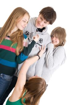 Free Group Of Teenagers Isolated On A White Royalty Free Stock Photography - 4693057