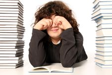 Free Boy Crying And And Many Books Stock Photos - 4693193