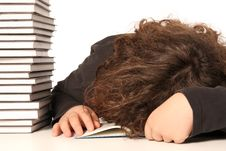 Boy Sleeping And And Many Books Royalty Free Stock Photography