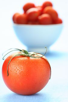 Free Tomato On Blue Stock Photography - 4693422