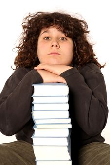 Free Boy And Many Books Stock Photography - 4693662