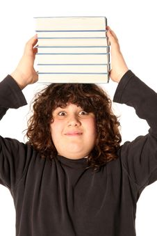 Free Boy With Books On Head Stock Photography - 4694602
