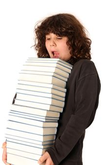 Free Boy Carrying Books Stock Images - 4694844
