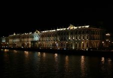 The State Hermitage Museum At Night. Royalty Free Stock Image