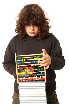 Boy With Abacus Calculator Royalty Free Stock Photos