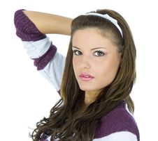 Young Brunette Posing Stock Image