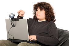 Free Boy Using Laptop And Webcam Royalty Free Stock Photos - 4695708