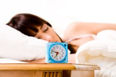 Free Alarmclock About To Wake Her Up Royalty Free Stock Photography - 4696467