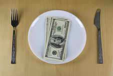 Money On The Plate Stock Image