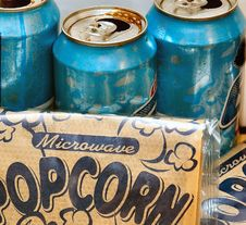 Popcorn And Soda For Snack Royalty Free Stock Photography