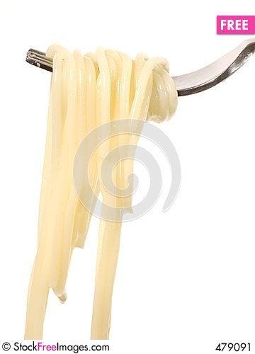 Spaghetti on a fork Stock Photo