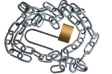Free Brass Lock And Chain Royalty Free Stock Photos - 470188