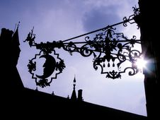 Moon Ironwork On The Side Of A Building Royalty Free Stock Photos