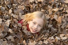 Girl In Leaves Stock Photo