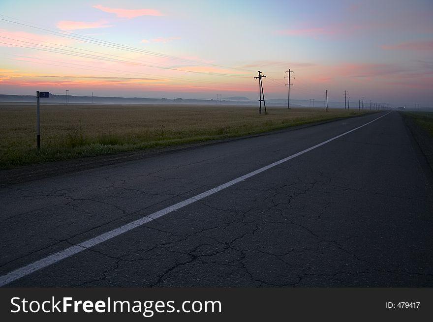 Road in sunrise