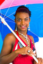 Free African Girl With A Colorful Umbrella Stock Photos - 4707213