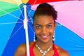 Free African Girl With A Colorful Umbrella Stock Images - 4707214