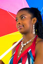 Free African Girl With A Colorful Umbrella Royalty Free Stock Images - 4707219