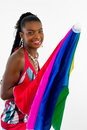 Free African Girl With A Colorful Umbrella Royalty Free Stock Photo - 4707225