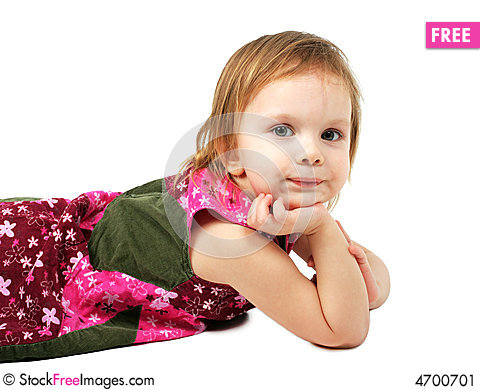 Free Little Girl Tired, Lie And Dreaming. Stock Image - 4700701