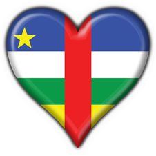 Central African Republic Flag Heart Shape Stock Image