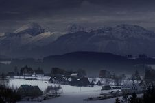 Houses At The Foot Of Mountains Stock Images