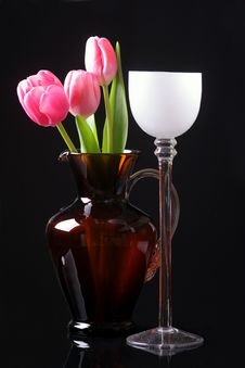 Tulips In The Vase Royalty Free Stock Photo
