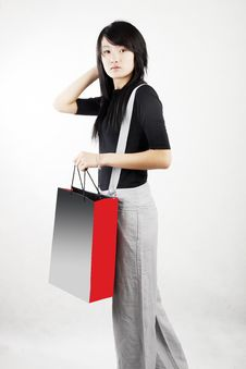 Shopping In A Chinese Girl Stock Photos