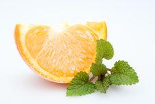 Free Frozen Orange With Fresh Balm, Isolated Stock Photography - 4702322