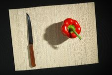 Free Red Bell Pepper And Knife Stock Photos - 4703673