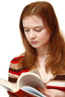 Free Student Girl Reading A Book Royalty Free Stock Image - 4704616