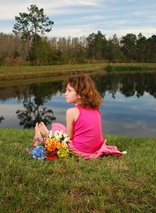 Little Girl At The Lake Stock Photo
