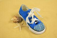 Seashells, Sand & Sneaker Royalty Free Stock Photos