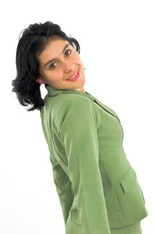 Free Cheerful Young Woman In Green Stock Photography - 4707192