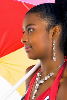 Free African Girl With A Colorful Umbrella Royalty Free Stock Image - 4707216