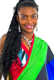 Free African Girl Wrapped In A Colorful Shawl Royalty Free Stock Photos - 4707268