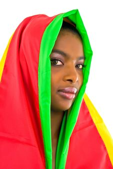 Free African Girl Wrapped In A Colorful Shawl Royalty Free Stock Photography - 4707277