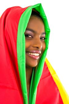 Free African Girl Wrapped In A Colorful Shawl Royalty Free Stock Photography - 4707297