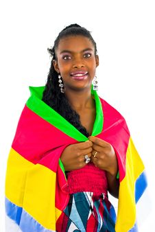 Free African Girl Wrapped In A Colorful Shawl Stock Images - 4707304
